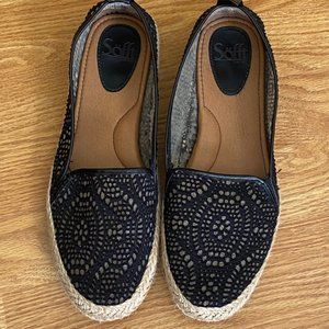 Sofft Black Woven Canvas Lace Slip On Flat Shoes